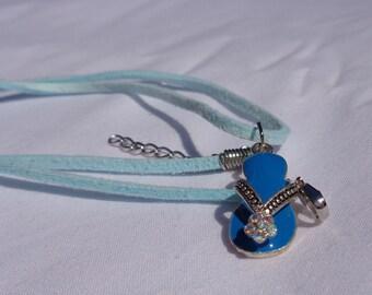 Necklace Blue Flip Flop Beach Charm Zipper Pull Summer Jewelry Cord