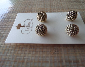 Vintage Chain Ball Metal Buttons on Card