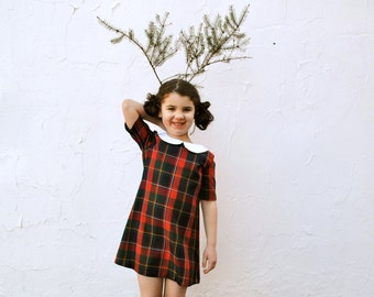The Florence Dress - Girls Lumberjack Dress - Burgundy Red Tartan Plaid Girls Dress (Ready to Ship)