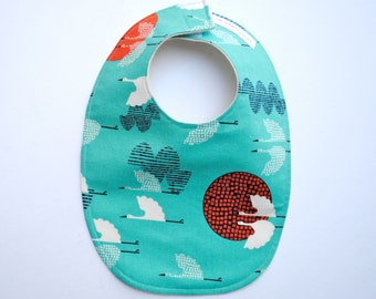 Organic Baby Bib- Eco Friendly Baby Bib- Sky Blue Cranes- Modern, Kids, Nautical, Food, Bibs