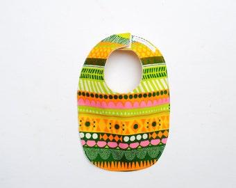 Organic Baby Bib- Bright Neon Tribal Summer- Eco Friendly Modern Bib in Marimekko Fabric