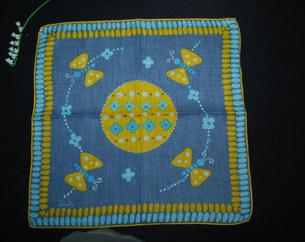 Shelly Vintage Hankie Gray with Aqua and Sunny Yellow Butterflies