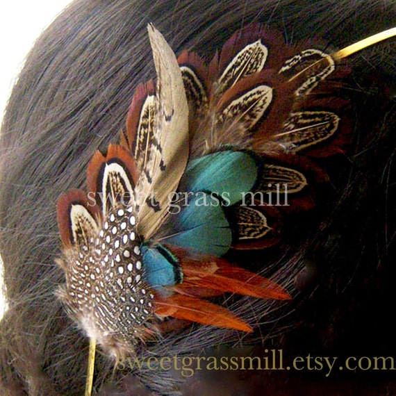 Feather Headband - PEMBERLEY MAIDEN - Pheasant & Guinea Feathers - Choose Headband or Clip
