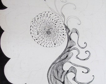 Pod, Ink drawing on acid free matboard, artist signed in pencil
