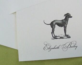 Personalized Italian Greyhound ,Iggy Dog , Monogrammed Note Cards Stationery,  Black Ivory Set 10 Sighthound, Vintage Inspired Notecards