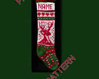 Pattern only, hand knit Christmas stocking, candy cane and reindeer