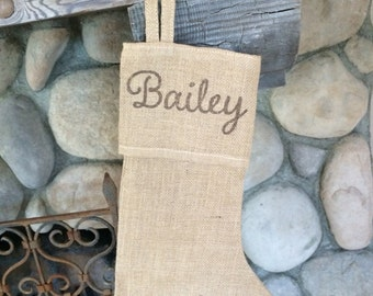 Personalized Burlap Stocking, Christmas burlap stocking, Holiday Stocking