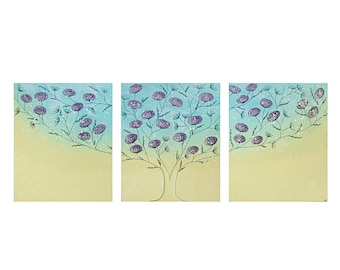 Tree Artwork Original Painting on Canvas Triptych - Aqua and Yellow - Extra Large 62x24