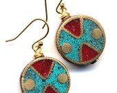 Nepal Earrings, Tibet Earrings, Coral and Turquoise Earrings, Nepal Beads on 18K Gold Filled Wire, Nepal Jewelry by AnnaArt72