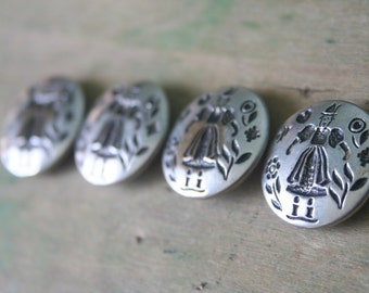 Dutch Lady Silver Embossed BUTTONS - Set of 4