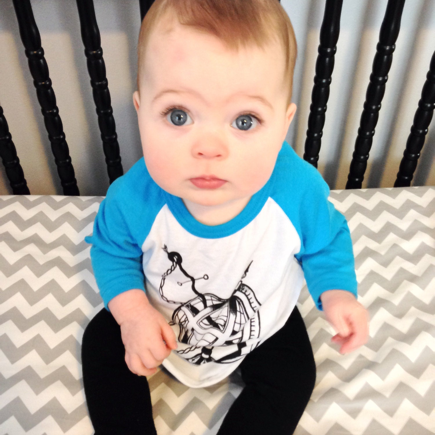 Neon Blue And White Baby Anchor Baseball Tee By