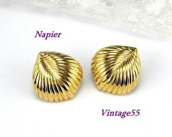 Napier Earrings Gold tone Leaf Motif Pierced Post