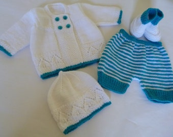 Baby  Outfit,  Newborn  Ensemble. Coming Home  Suit,  Knit   Baby Girl Outfit,  0 to 3 Months