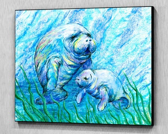 Manatees in Grass, Wood Wall Panel, Ready to Hang