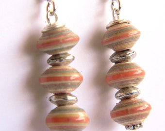 Paper Bead Jewelry - Earrings Tiny Saucers - #586