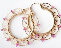 SAMPLE SALE 50% Off - Leela: Large Exotic Gold Filigree Hoop Earrings with Bright AAA Grade Gemtonstones Natural Londigo Ruby