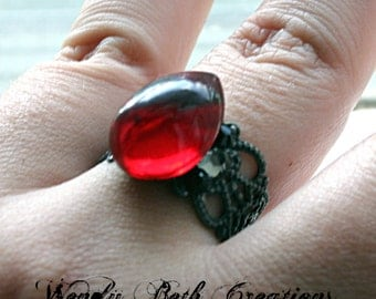 Overstock Clearance Sale 30% Off - Red Tear Drop Steam Punk Bindi Style Ring