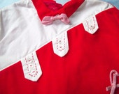 SALE   Vintage Baby Boy Red Velvet Two Piece Christmas Outfit
