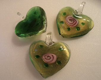 SALE - Glass Heart Pendant - Green/Pink/Golden - #PND921