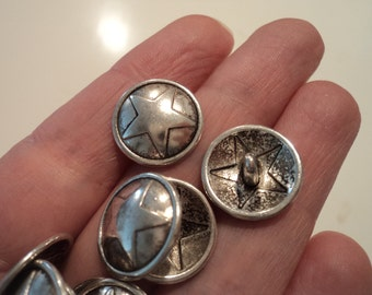 Antique Silver Buttons - Carved Star - set of 8 - #BUTTON144