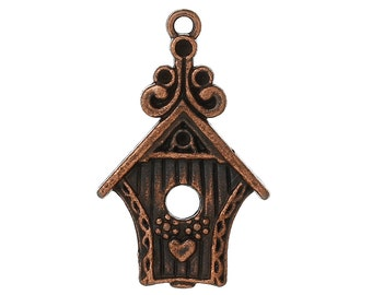 Birdhouse Charm - Set of  5 - Antique Copper - #HK1073