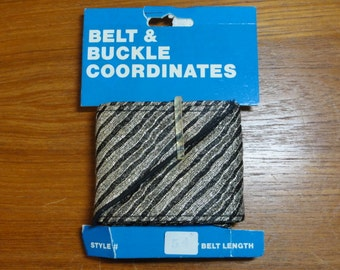 """Vintage Ribbon Belt Kit- Black & Gold Metallic Stripes-54"""" Length 2 3/4"""" Wide- NOS"""