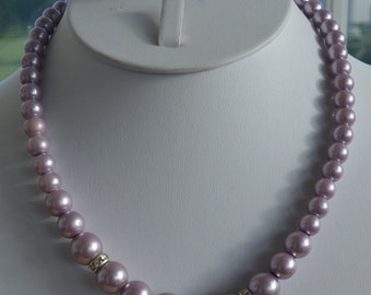 Pretty Vintage Lavender Faux Pearl, Rhinestone Rondelle Necklace, Adjustable, Silver tone