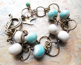 Aqua Raku and Brass Geometric Ring Bracelet, Ceramic, Antiqued Brass, Rustic Jewelry