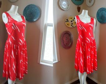 Vintage Dress Full Skirt Tank Dress Flirty Sundress Red White