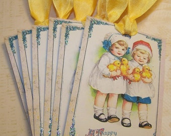 Easter Tags Easter Cards Easter Favors Ornaments Journaling Cards Junk Journal Supplies Yellow and Blue Vintage Style - Set of 6 or 9