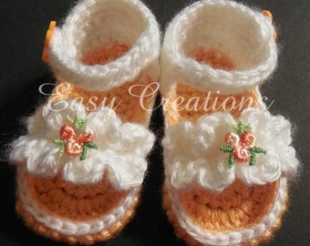 CROCHET PATTERN Baby Girl Sandals Ruffle shoes booties babies girls Newborn to 6 mo skill level intermediate