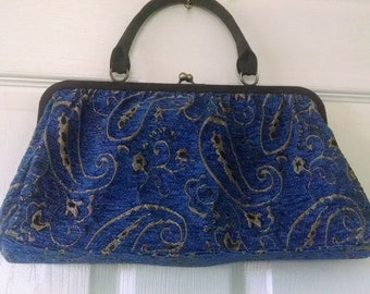 Vintage Clutch Old Navy Blue Brocade Tapestry HandBag Original in Excellent condition  On SaLe Now