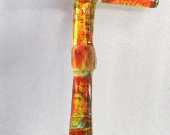 Upcycled Window Glass Red and Yellow Wall Cross - CUSTOM MADE ITEM