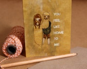 You Feel Like Home to Me // fold out illustrated gift card with recycled envelope perfect for couples' anniversary gift romantic