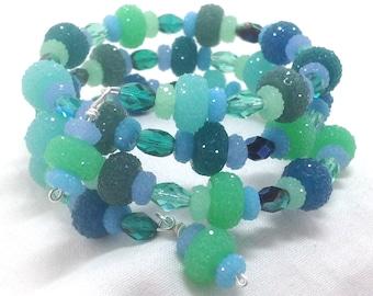Bracelet Blue Bling Wrap Multi Strand Ocean Seafoam Aqua Blue Green Mix Cuff Memory Wire Handmade Boho Cool Holiday Frosty XMAS Sparkle