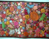 Light Brown Border Leather Jr Legal Pad Cover with  Lots of Multicolored Flowers Made in GA USA