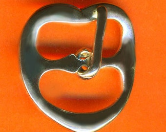 Vintage 12 Art Deco Silver Plated Heart Shaped 19x20mm Buckles N6L