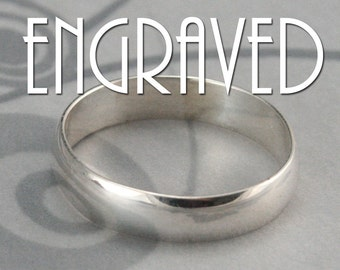 Plain Jane Sterling Silver 4mm Wide Band with Personalized Inside Ring Engraving-Low Profile Rounded Traditional Ring-Polished or Brushed