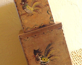 SALE Pair of Rustic Wooden Boxes Handpainted Birds Wood Ware