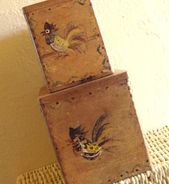 SALE Pair of Rustic Wooden Boxes Handpainted Birds Wood Ware