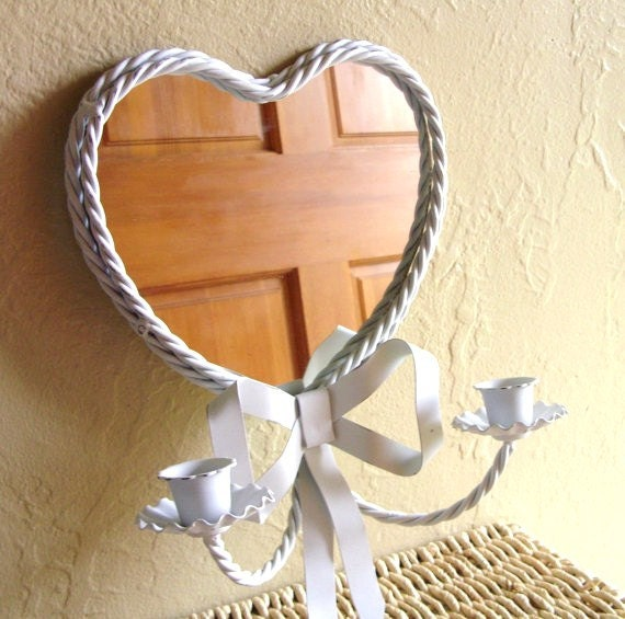 SALE Shabby Chic Heart Wall Sconces with Mirror - White with Gold