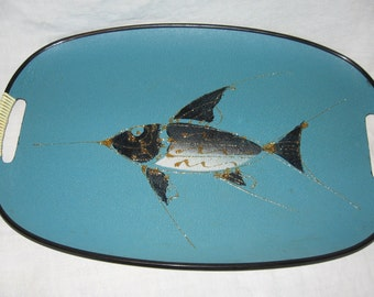 Florida Souvenir Turquoise Fish Serving Tray with Handles