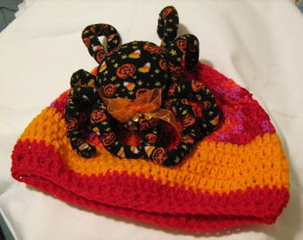 Halloween, Sock Spider Hat, Geekery hat, Bright Goth Hat, There's a spider on your head