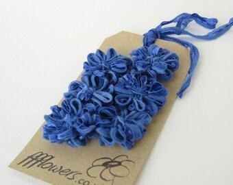 6 Ribbon Flower Appliques Periwinkle Blue