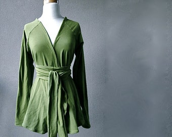 Long organic cardigan with shawl neckline - moss green or pick your color