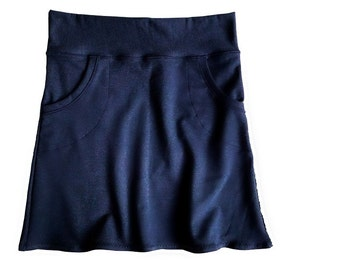 Hipster skirt with front pockets, navy blue or more colors, organic cotton clothing, short skirt