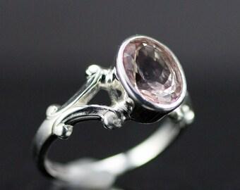 Morganite Sterling Ring - Oval Morganite Ring - Pink Gemstone Ring