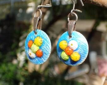 Blue bubbles enamel and silver earrings