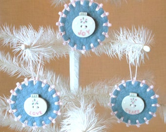 Hand Sewn Wool Felt Christmas Ornaments with Porcelain Buttons - Set of 3