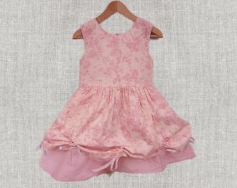 Baby girl dress, baby clothes, pink toile dress, flower girl dress, Pink toddler dress, Baby shower, Cotton dress, wedding dress girl